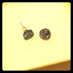 Colorful rough rock earrings